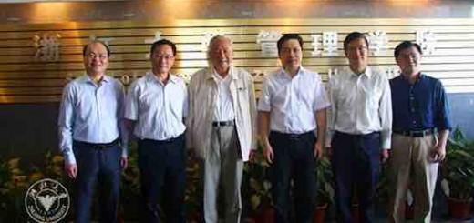 浙江省委秘书长赵一德前往浙江大学管理学院看望许庆瑞院士